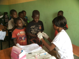 Children being tested for malaria
