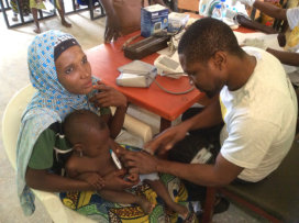 Medical examination of mother and child